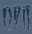 fashionable skinny denim jeans clip art vector image