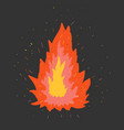 fire on a dark background vector image vector image