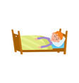funny little boy sleeping tight asleep in his bed vector image