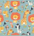 Happy jungle animals seamless pattern