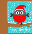happy new year bullfinch winter red feather bird vector image vector image