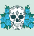 isolated a skull with roses vector image vector image