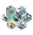 Isometric Office Different Floors Composition vector image vector image