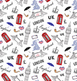 london city doodles elements seamless pattern vector image vector image