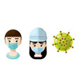 medical professionals and a virus icon set 6 vector image vector image