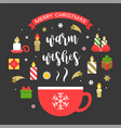 merry christmas icon and warm wishes vector image vector image