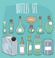 mockup set different empty transparent containers vector image