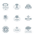 nuclear world logo set simple style vector image vector image