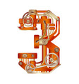 numeral 3 of mechanic alphabet steampunk font vector image vector image