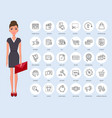 online shopping thin line icons young pretty vector image