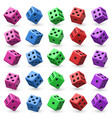 playing dice set 3d cube with numbers vector image