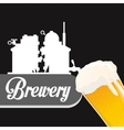 poster silhouette brewery beer vector image