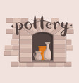 pottery workshop poster with ceramics vector image