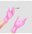 realistic nurse hand in gloves with syringe vector image vector image