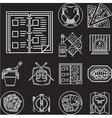 Restaurant menu white line icons vector image vector image