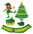set christmas with elf and decorated tree vector image vector image