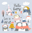 set cute penguin characters in winter clothes vector image vector image