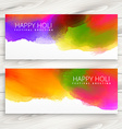 set happy holi banners and headers vector image vector image