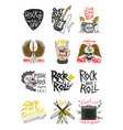 set of rock and roll music symbols with guitar vector image vector image