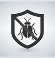 shield with bug icon virus protection symbol vector image vector image