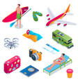 summer vacation isometric icons 01 vector image