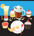 tasty breakfast tourist coffee vector image vector image