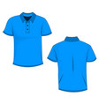 template of front and back view of blue polo vector image