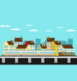 train on railway with outdoor town landscape vector image
