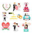 wedding celebrations icons and cliparts vector image