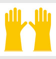 yellow rubber gloves icon flat isolated vector image