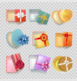 gift box with ribbon bow 3d icons set vector image
