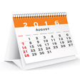 August 2016 desk calendar vector image