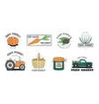 fresh food labels set farm market various logo vector image