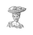 african woman carries a basket with baobab fruits vector image