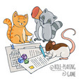 animals playing board role-playing game vector image