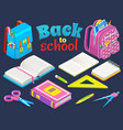back to school concept stationery set vector image