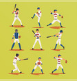 baseball players in different poses set softball vector image
