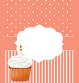 birthday card with cupcake vector image