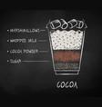chalk drawn sketch cocoa recipe vector image