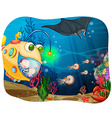 Children in submarine under the ocean vector image vector image