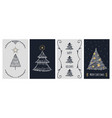 christmas cards template doodle xmas tree and vector image vector image