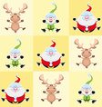 Christmas cartoon characters in yellow squares vector image vector image