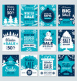 christmas sale winter promotional labels cards vector image