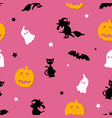 creative pink seamless halloween pattern vector image