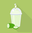 cucumber juice or smoothie in plastic glass vector image vector image