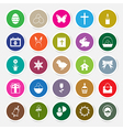Easter icons set circle sticker vector image