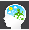 Eco thinking head icon and nature ecology concept vector image vector image