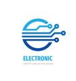 electronic technology logo design computer vector image vector image