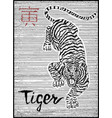 engraved of zodiac symbol with tiger vector image