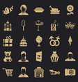 family dinner icons set simple style vector image vector image